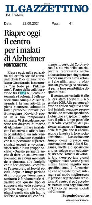 Articolo Il Gazzettino Padova 22/09/2021